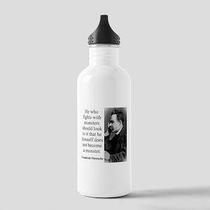 He Who Fights With Monsters - Nietzsche Water Bott