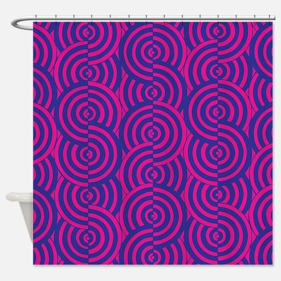 Pink & Blue Semi-Circles Shower Curtain