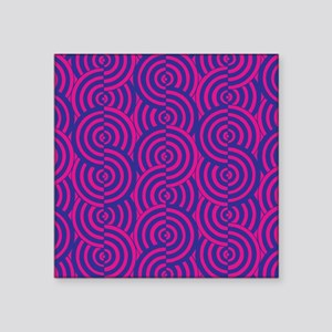 "Pink & Blue Semi-Circles Square Sticker 3"" x 3"""