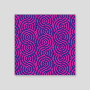 "Pink & Blue Semi-Circles Square Sticker 3"" x 3"""