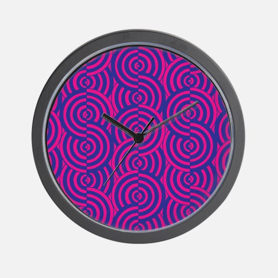 Pink & Blue Semi-Circles Wall Clock