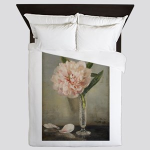 Single Pink Peony Queen Duvet