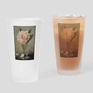 Single Pink Peony Drinking Glass