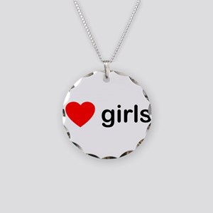 I Love Girls Necklace Circle Charm