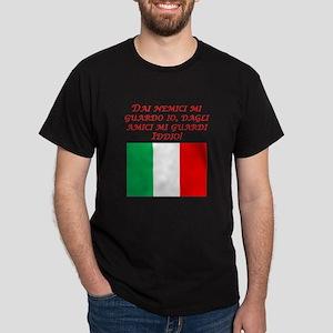Italian Proverb Enemies Friends Dark T-Shirt