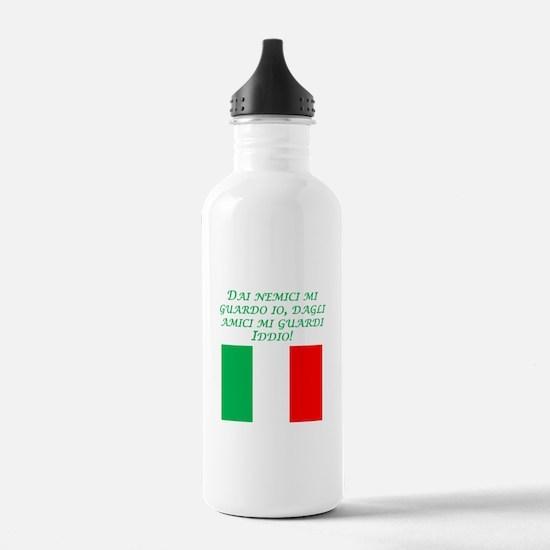 Italian Proverb Enemies Friends Water Bottle
