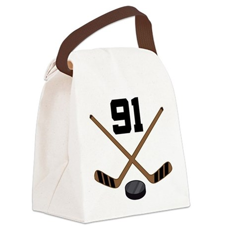 Hockey Player Number 91 Canvas Lunch Bag