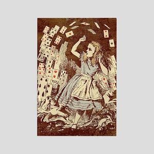 Vintage Alice Flying Cards Rectangle Magnets