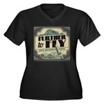 Further to Fly Women's Plus Size V-Neck Dark T-Shi