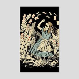 Vintage Alice Flying Cards Dark Sticker (Rectangle