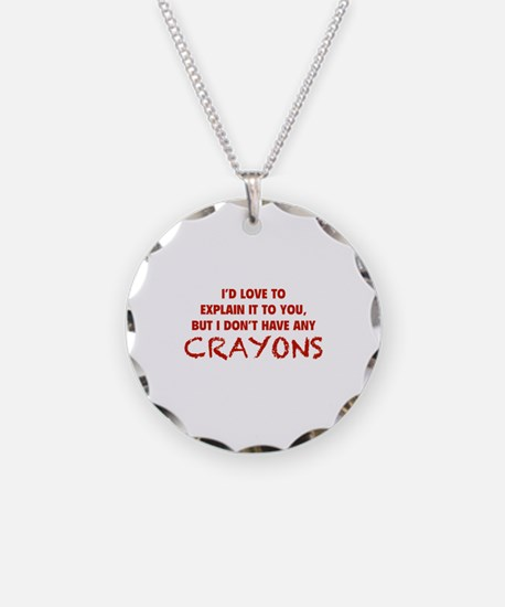 Crayons Necklace Circle Charm