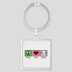 Peace Love Radio Square Keychain