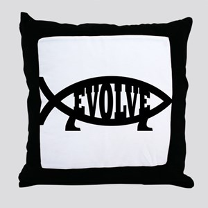 Evolve Fish Symbol Throw Pillow