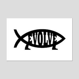 Evolve Fish Symbol Mini Poster Print