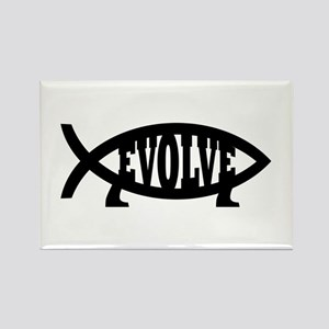 Evolve Fish Symbol Rectangle Magnet