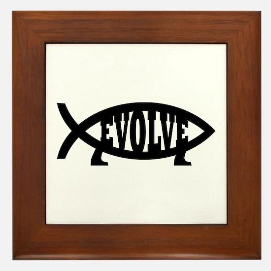 Evolve Fish Symbol Framed Tile
