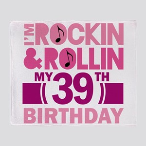 39th Birthday rock and roll Throw Blanket