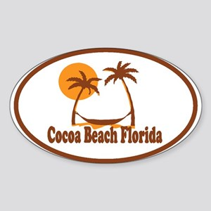 Cocoa Beach - Palm Trees Design. Sticker (Oval)