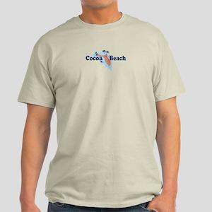Cocoa Beach - Map Design. Light T-Shirt
