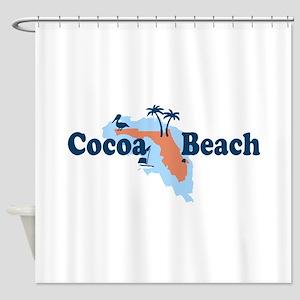 Cocoa Beach - Map Design. Shower Curtain