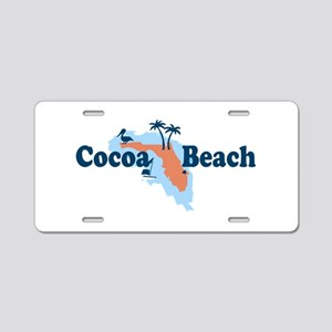 Cocoa Beach - Map Design. Aluminum License Plate