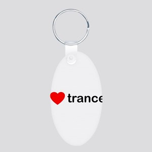 I Love Trance DJ Aluminum Oval Keychain