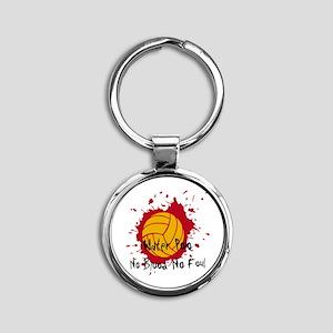 No Blood No Foul Round Keychain