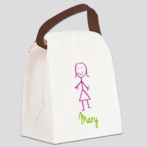 Mary-cute-stick-girl Canvas Lunch Bag