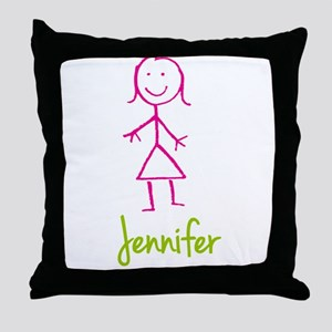 Jennifer-cute-stick-girl Throw Pillow