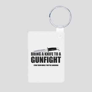 Bring A Knife To A Gunfight Aluminum Photo Keychai