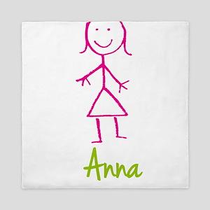 Anna-cute-stick-girl Queen Duvet