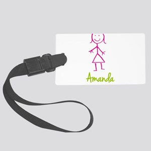 Amanda-cute-stick-girl Large Luggage Tag