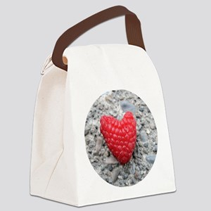 Raspberry Heart Canvas Lunch Bag