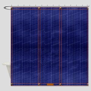 Blue Denim Dark Shower Curtain