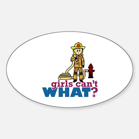 Firefighter Girls Sticker (Oval)