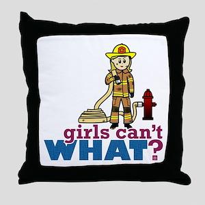 Firefighter Girls Throw Pillow