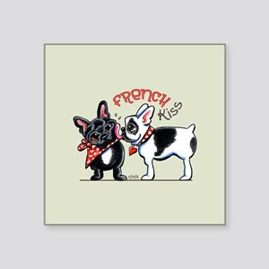 "French Kiss Cute Square Sticker 3"" x 3"""