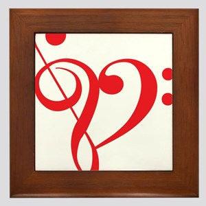 I love music, red heart with music notes Framed Ti
