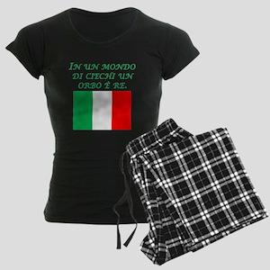 Italian Proverb One Eyed Man Women's Dark Pajamas