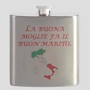Italian Proverb Good Wife Husband Flask
