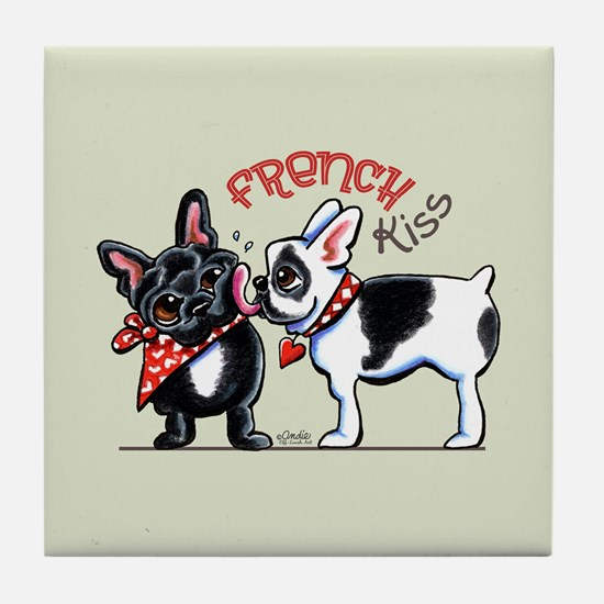 French Kiss Cute Tile Coaster