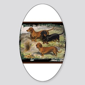 Antique Dachshund Doxie Oval Sticker