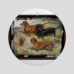 Antique Dachshund Doxie Ornament (Round)