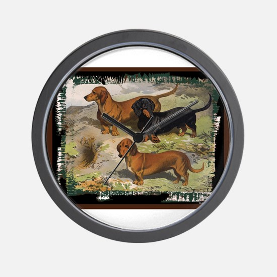 Antique Dachshund Doxie Wall Clock