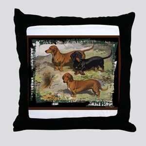 Antique Dachshund Doxie Throw Pillow