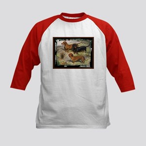 Antique Dachshund Doxie Kids Baseball Jersey