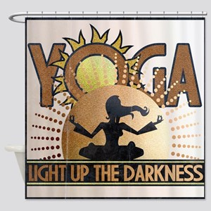 Yoga Light up the Darkness Shower Curtain