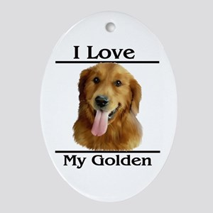 I Love My Golden Oval Ornament
