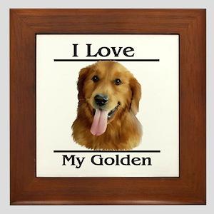 I Love My Golden Framed Tile