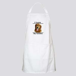 I Love My Golden BBQ Apron